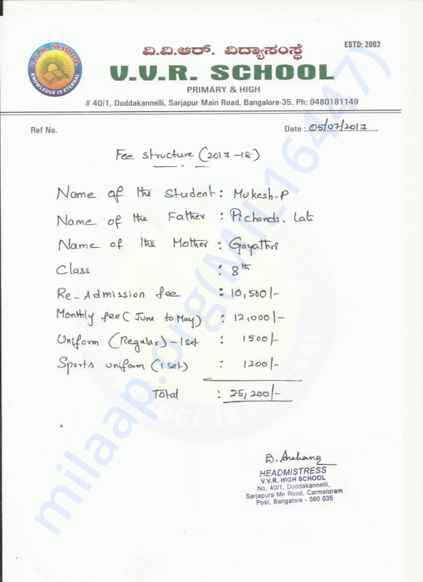School Fee Structure for Mukesh