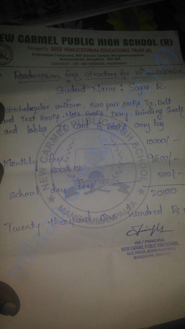 School Fees for 1 year