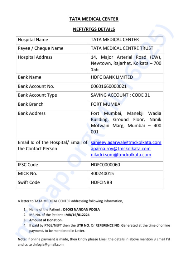 This is the payment detail provided by the TATA Medical Centre