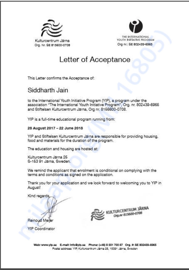 Letter of Acceptance