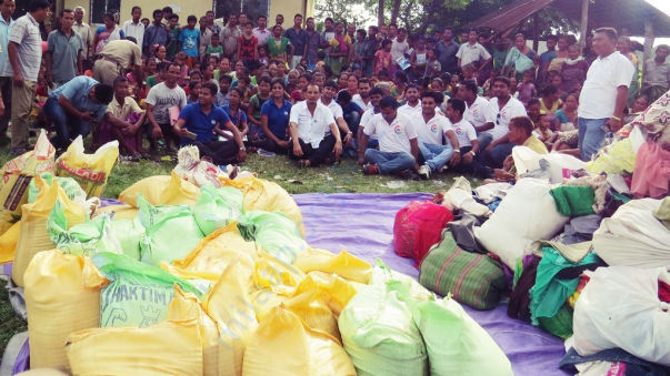 Assam flood relief operation in 2016 at Chirang District