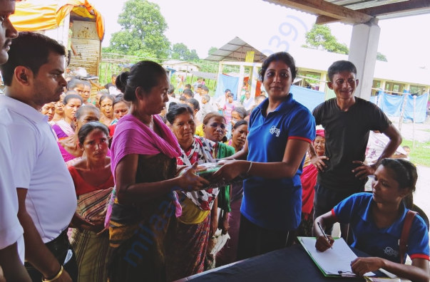 Assam flood relief operation in 2016 at Chirang (Mosquito nets)