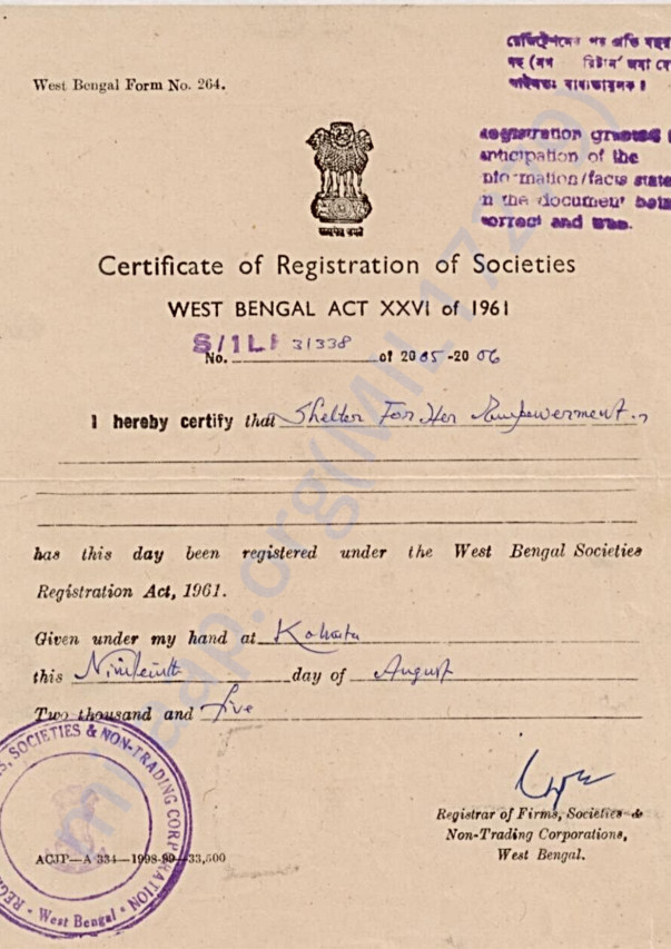 Our Society Registration Certificate