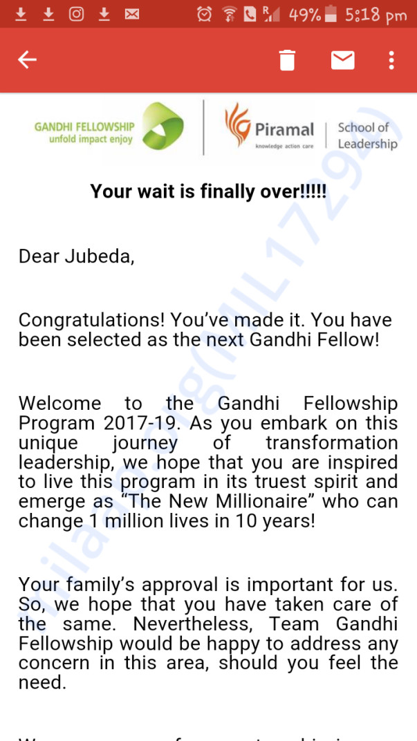 Gandhi fellowship acceptance email