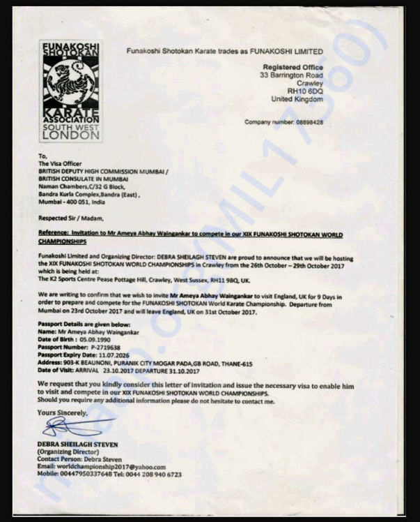 Invitation letter of World Karate Championship - London