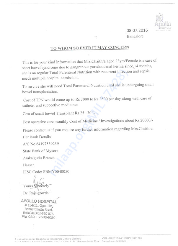 Apollo Hospital Docter Letter