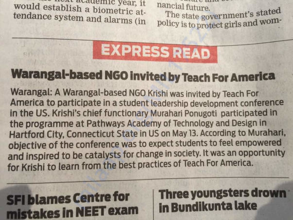 """Teach for America"" in US has invited Krishi NGO to share their story."