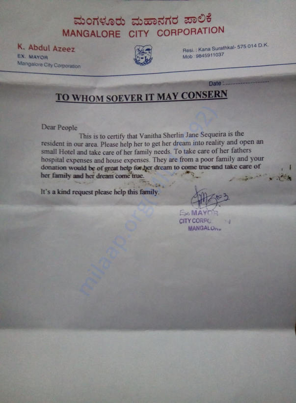Letter from the x Mayor Abdul Azeez, Mangalore