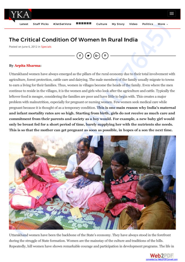 The critical condition of rural women in India
