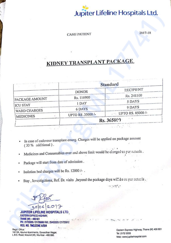 Kidney Transplant Package