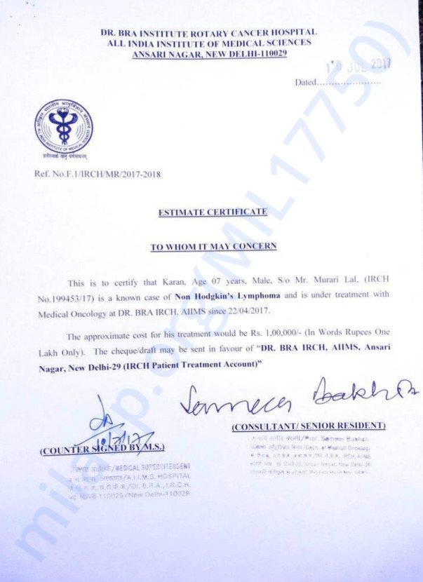 Estimate letter of master karan