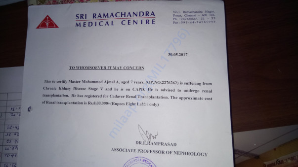 Doctor letter from Ramachandra Hospital,porur,Chennai