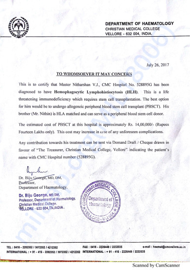 CMC Vellore Hospital declaration of Disease