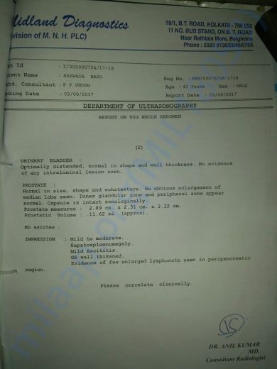 Second ultrasonography report of whole abdomen (contd.)
