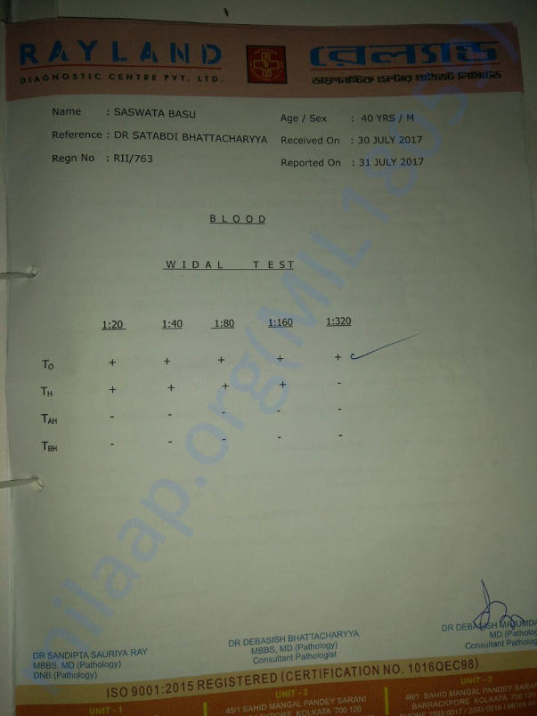 WIDAL test result indicating TYPHOID