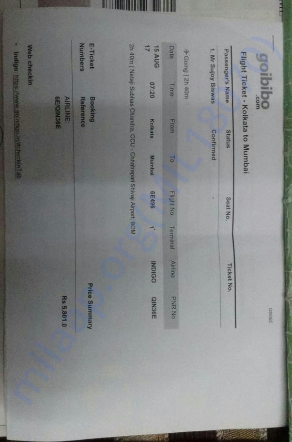 Air ticket to Mumbai Tata Medical Center