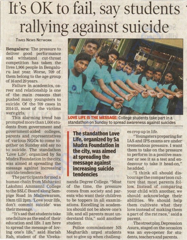 Campaign to spread awareness against suicide