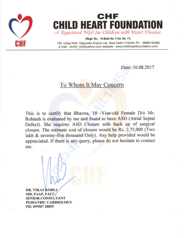 Estimation letter from pediatric cardiologist