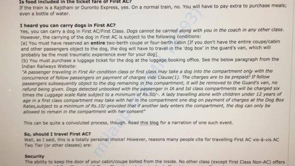 Details on how to send a dog via train