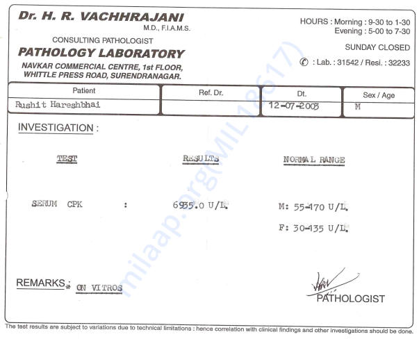 First Diagnosed by DMD (CPK Blood Test Report)