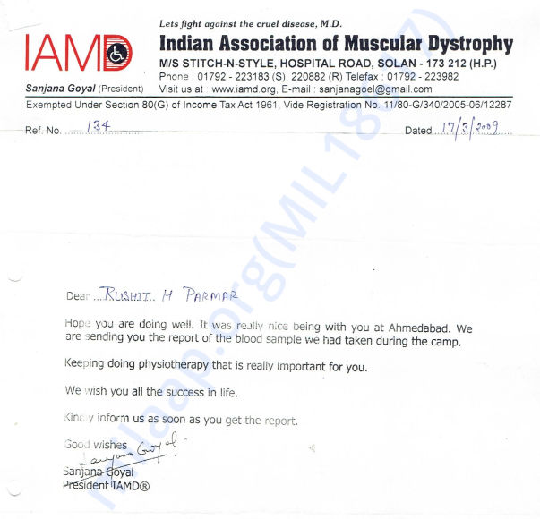 Letter of Association with Indian Association of Muscular Dystrophy, S