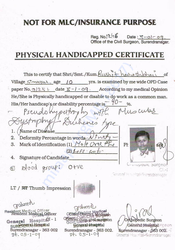 Physical Handicapped Certificate by Government General Hospital