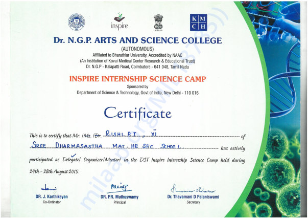 Selected for Inspire Science Internship Programme