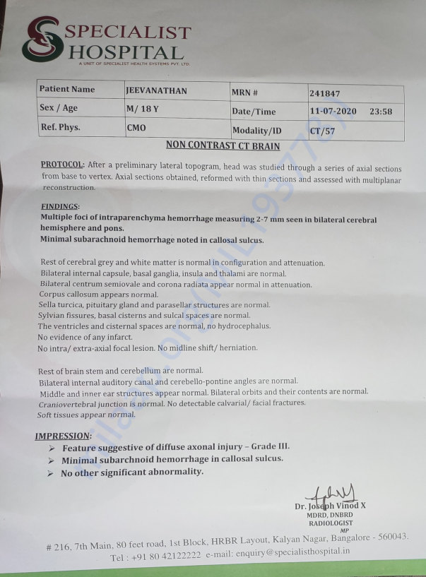 CT scan report as on 11th July 2020 @ Specialist Hospital