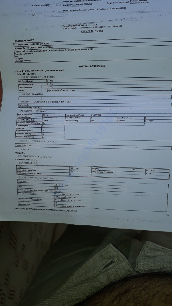 sushila's medical and hospital report