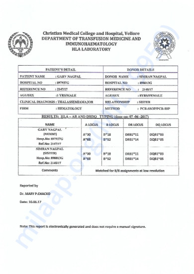 HLA REPORT OF GARV NAGPAL