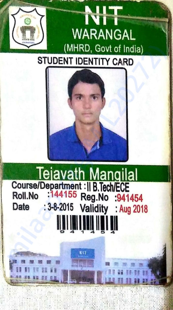 Mangilal's college ID Card