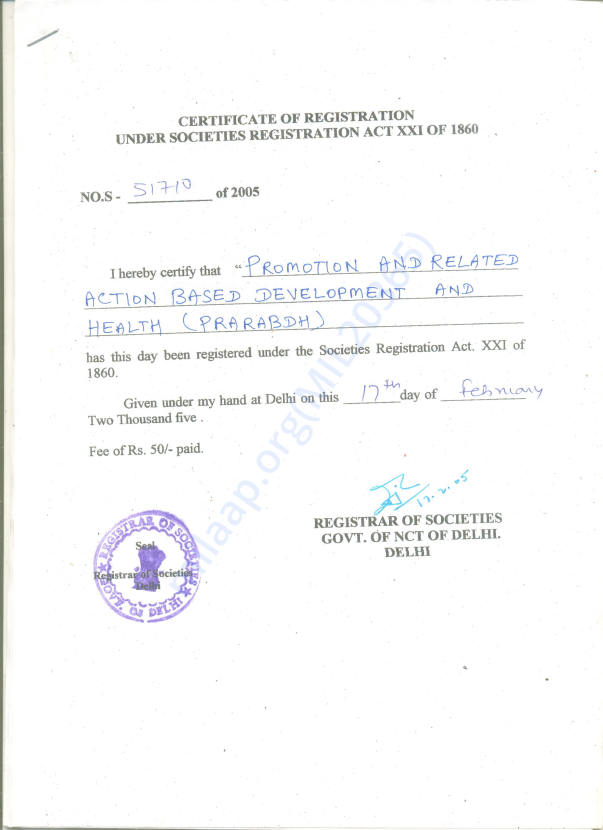 Registration Certificate of the Organisation