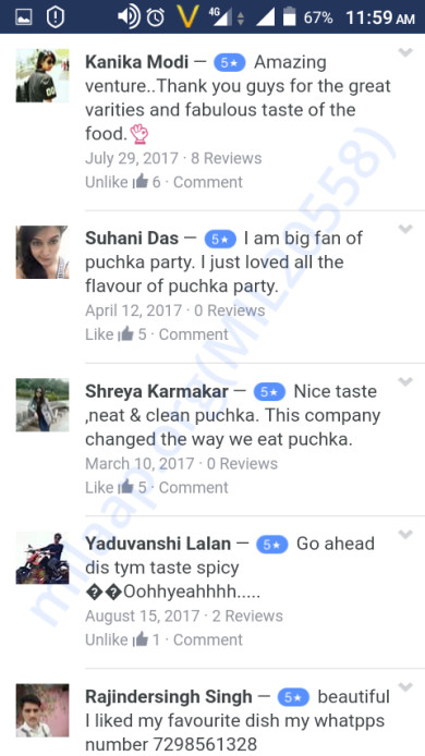 Consumer feedback on our official FB page Puchka Party