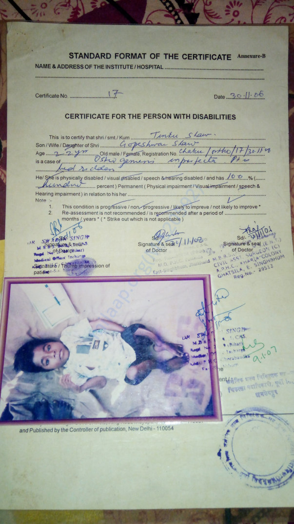 Physically Handicapped Certificate