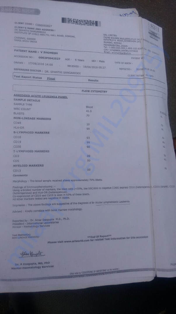 Cancer diagnosis report