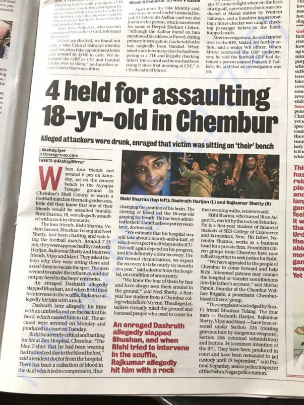 Mumbai Mirror Report on the Incident
