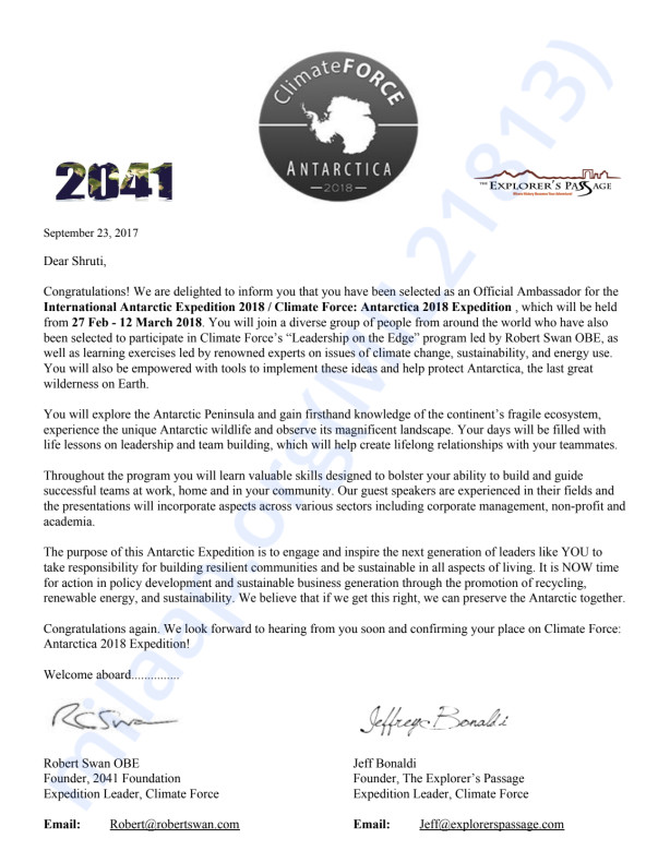 Selection letter for the Climate force expedition 2018