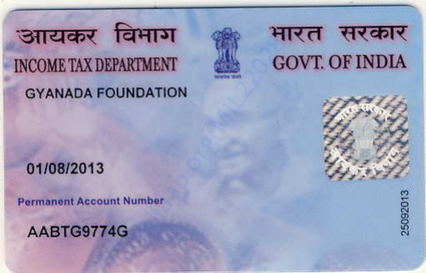 Gyanada Foundation - India PAN Card