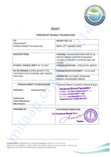 Eureka Forbes Water Filter Installation Receipt-25 households
