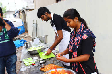 Preparing food for needy people