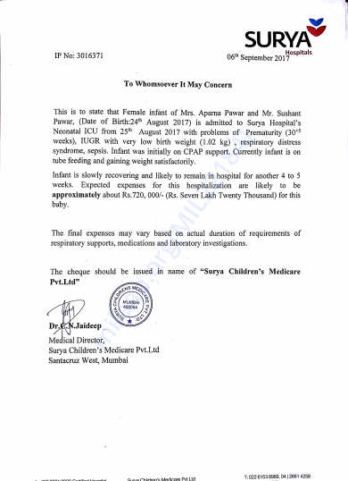 SURYA HOSPITAL ESTIMATE LETTER