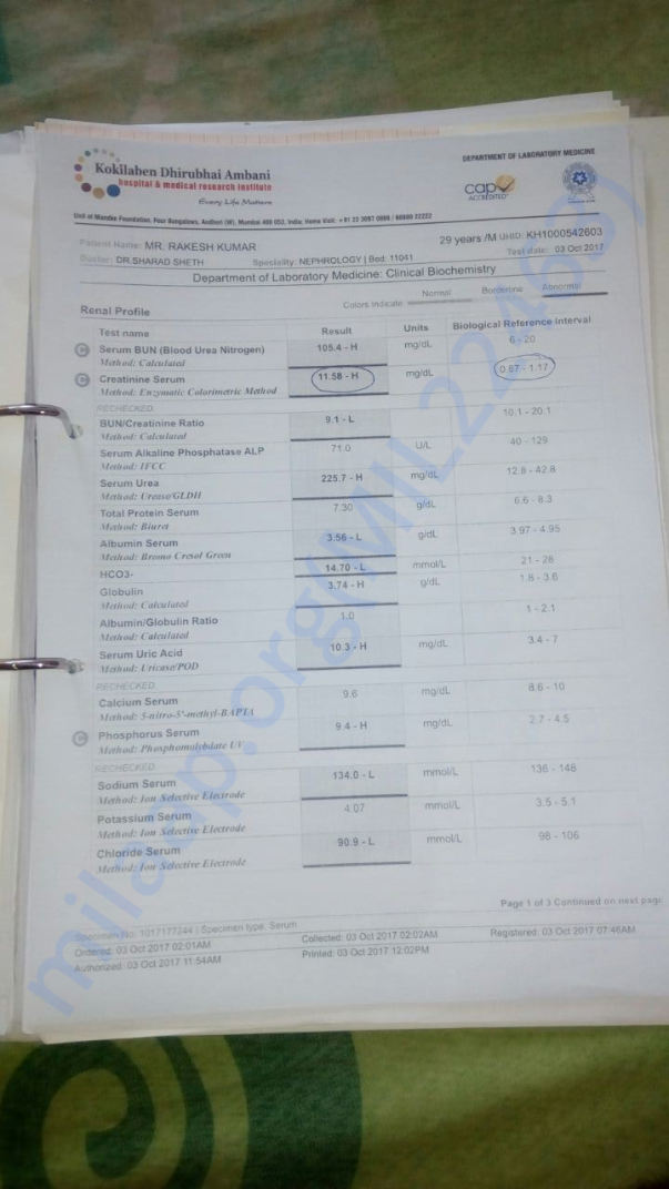 Blood report related to Kidney failure