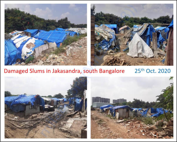 Damaged slums in Jakkasandra, South Bangalore