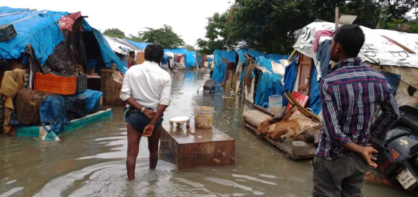 Damaged slums due to floods