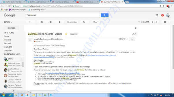My Application approval email from Guinness World Record Team