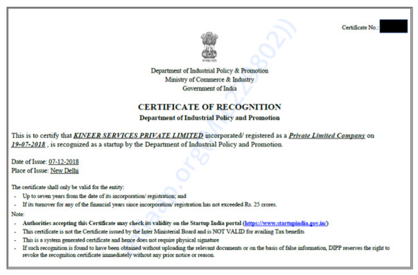 Startup Certificate