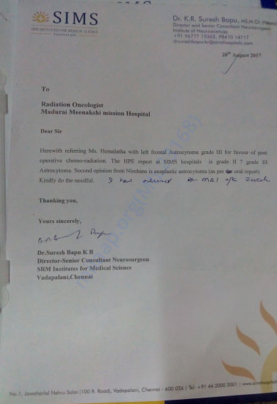 Letter from Dr Suresh babu