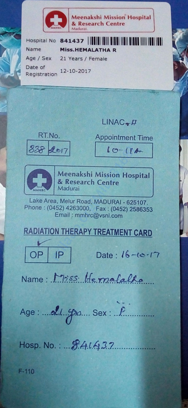 Admission card of Meenakshi mission hospital