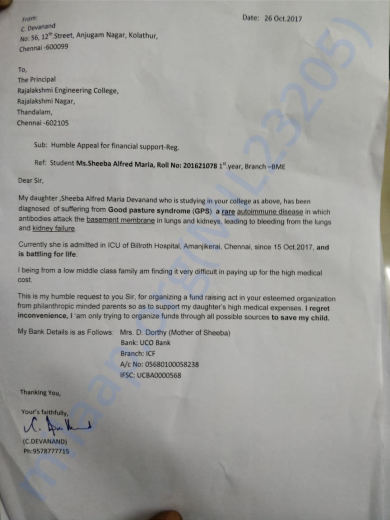 A fund raising letter given to the college