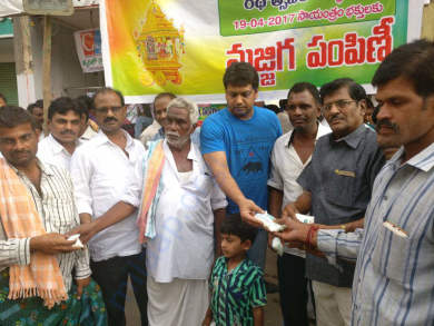Kandula Obula Reddy Trust gave 10,000 Buttermilk packets on 19-04-2017